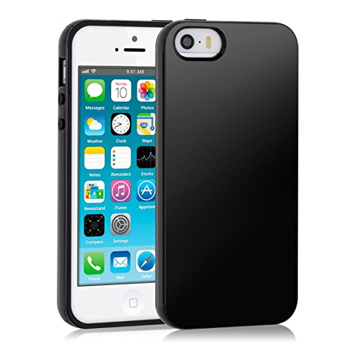 Apple Gummi Iphone (kwmobile Hülle für Apple iPhone SE / 5 / 5S - TPU Silikon Backcover Case Handy Schutzhülle - Cover Schwarz)