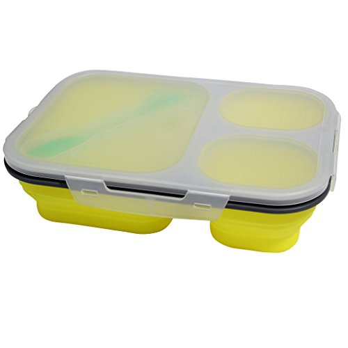 KurtzyTM Lunch Box Bento Box Pieghevole in Silicone- Tre scomparti con posate - Giallo - Auto Lunch Box