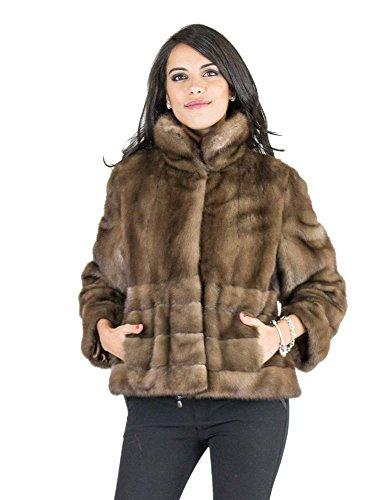 PELLICCEFUR Horizontal Mink Fur Coat 48 Demi Drape Jacket Vison норка Pelliccia...