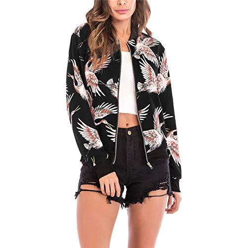 MISSMAO Damen Herbst Floral Bomberjacke Bikerjacke Reißverschluss Kurzjacke Outwear Baseball Mantel Tops Coat Schwarzer Vogel Large - Floral Damen Trench Coat