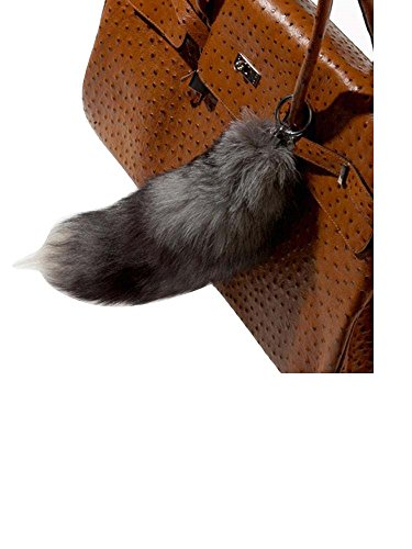 Modassori XXL Taschenanhänger Echtfell Pelz Fuchsschwanz Natur grau schwarz Ring-Befestigung Trend Mode-Artikel