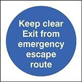 Fuoco segni Keep Clear uscita da emergenza Escape Route, 200 X 200, 1