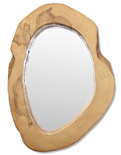 LioLiving®, Wandspiegel aus massivem Teakholz (#400134) Ovaler Holz-spiegel