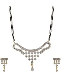 Zeneme Women's Pride American Diamond Gold Plated Mangalsutra Pendant With Chain And Earrings For Women - B015SUMNOC