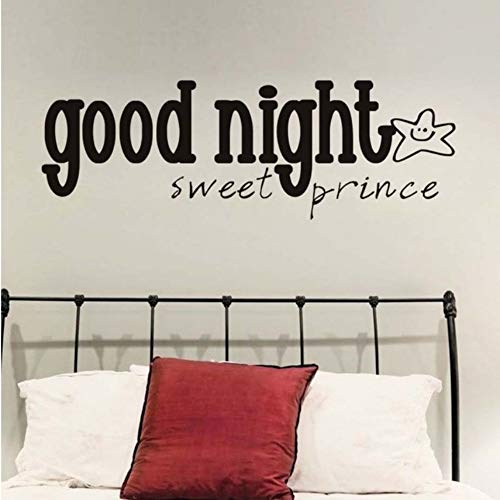 Xbwy Gute Nacht Süße Prinz Wandaufkleber Lächeln Stern Pvc Diy Kunst Vinyl Abnehmbare Wandtattoo Baby Schlafzimmer Dekoration 58X20 Cm