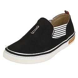 Quarks Mens Black Slip On Smart Canvas Casual Shoes J1120BK-7