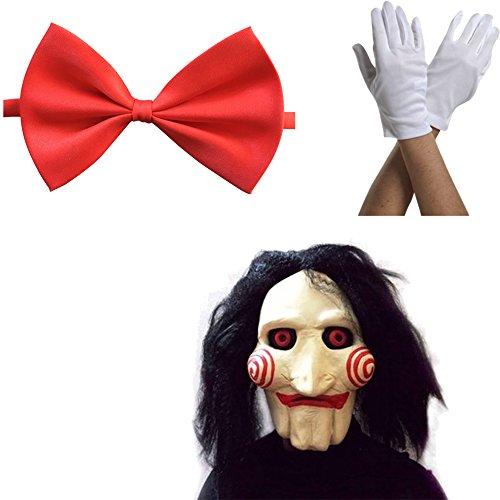 thematys Jigsaw Saw Maske mit Kunsthaaren + Fliege + Handschuhe - perfekt für Fasching, Karneval & Halloween - Kostüm für Erwachsene - Damen - Jigsaw Kostüm Kind