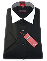 ETERNA Herren Kurzarm Hemd Modern Fit schwarz strukturiert (fischgrat) mit Kontrastkragen 1124.39.C121 / B.2