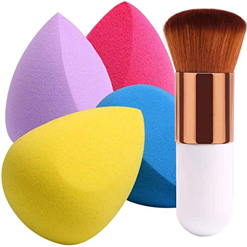 BEAKEY 4+1 Stücke Make up Schwämme mit Foundation Pinsel, Beauty Schwamm Blender & Kabuki Pinsel
