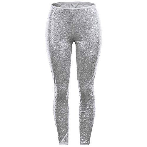 Lazzboy Frauen plus Größe glänzende Pailletten-dünne Gamaschen-Hosen-Damen-reizvolle Clubwear-Hose(3XL,Silber)