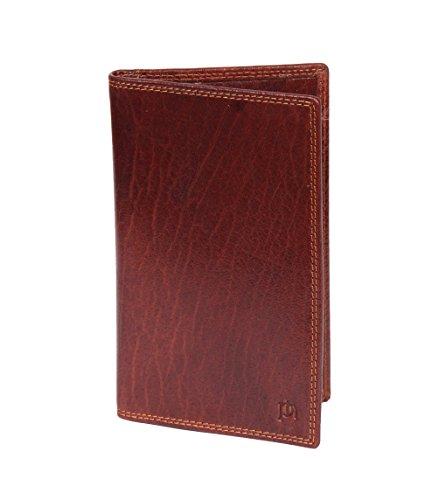 RFID Herren Jacke Brieftasche Schwarz- Braun Leder Brust Geldbörse Karten ID Notizen Bifold BOXED - Owen (Braun) Braun