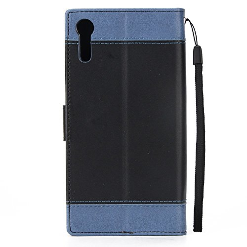 Dual Color Matching Premium PU Leder Flip Stand Case Cover mit Card Cash Slots und Lanyard für Sony Xperia XZ ( Color : Gold ) Black