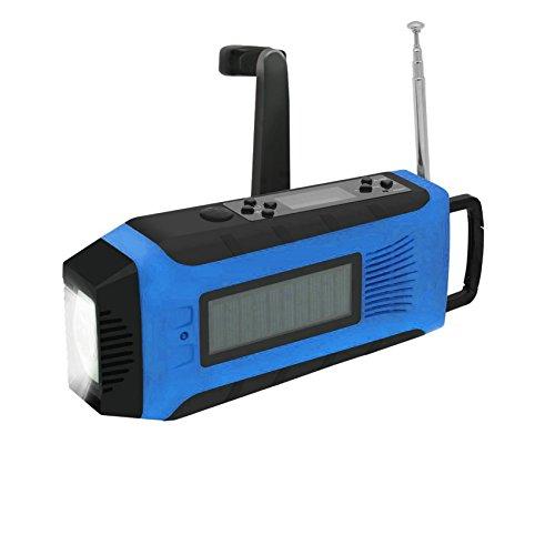 GuDoQi Multifunktionale Solar Hand Kurbel Radio Dynamo Hand Kurbel Powered NOAA Wetter Radio 1W LED Taschenlampe Support Telefon Aufladen Blaue Farbe