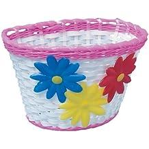 Adie ACB002 - Cesta de manillar de bicicleta para niñas (PVC, diseño de cesta de mimbre), color rosa y blanco