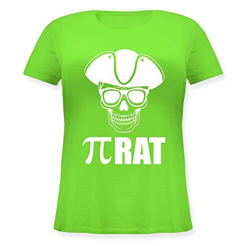 Nerds & Geeks - (Pi) Rat - weiß - M (46) - Hellgrün - JHK601 - Lockeres Damen-Shirt in großen Größen mit Rundhalsausschnitt