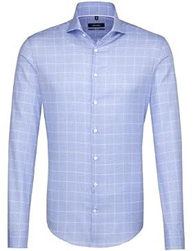 SEIDENSTICKER Herren Hemd Tailored 1/1-Arm Bügelleicht Karo City-Hemd Hai-Kragen Kombimanschette weitenverstellbar