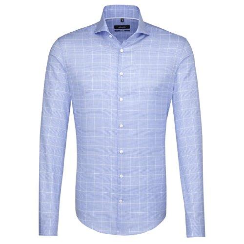 Seidensticker Herren Langarm Hemd Tailored Shark Hai-Kragen Blau/Weiß Kariert 247107.14 (Blau, 38)