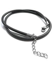 Kautschukhalsband, Halskette, Kautschukband mit rostfreiem Karabinerverschluss aus Edelstahl KHB 345, verschiedene Längen lieferbar