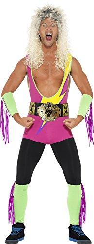 Smiffys, Herren Retro-Ringkämpfer Kostüm, Bodysuit, Gürtel, Arm- und Beinmanschetten, Größe: L, 27561 (X Herren Bodysuit)