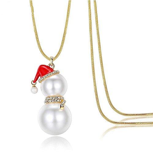 High-end zircone catena elegante del pupazzo di neve di Natale maglione delle donne della collana del pendente lunga selvaggio