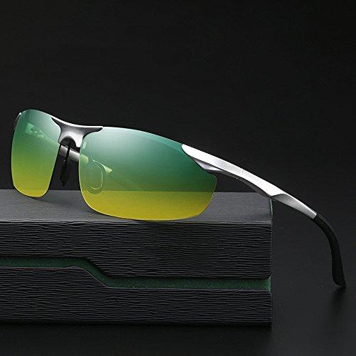 Z&HA Tag Und Nacht Polarisierte Nachtsichtbrillen Männer Fahren Sonnenbrille Aluminium Magnesium Halbrahmen Gläser Freie Anpassung Tempel,Silver