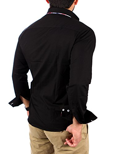Reslad Herren Hemd Button-Down Slim Fit Bügelleicht RS-7015 Schwarz