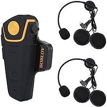 Bobov BT-S2 1000M BT casco de la motocicleta Auricular Bluetooth Intercom Moto Headset Intercom Interphone FM (Pack 1 with 1 set Earphone)