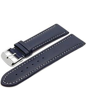 Meyhofer Uhrenarmband Okinawa 26mm dunkelblau Leder gepolstert helle Naht MyHeklb228/26mm/dblau/heN