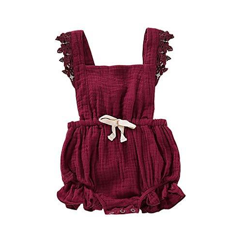 Knowin-baby body Neugeborenes Süß Baby Mädchen Spitze Blumenspielanzug Ärmelloser Overall Lässig Bogen Gefaltete Kleidung Outfits Sommer Niedlicher (6M-24M)