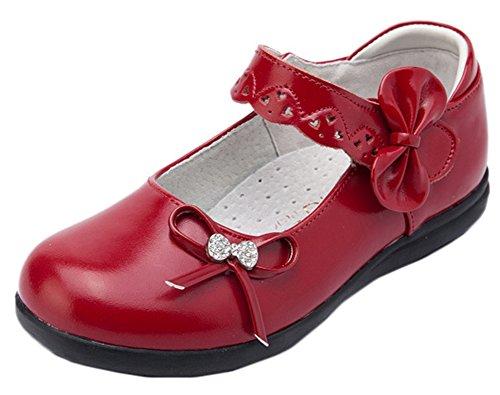 Scothen Prinzessin Ballerinas Party Schuhe Festliche Schuhe Mädchen Studenten Lederschuhe Tanzschuhe Schmetterling Party Absatz-Schuhe Mädchen Kostüm Schuhe-Schleife Pailletten Karneval (Schuhe Kind Red Pailletten)