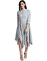 Desi Fusion Women's Handloom Cotton Stripes Dress (White)