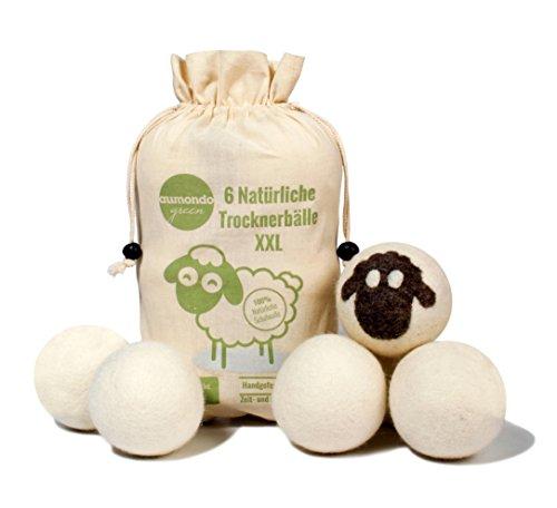 Trocknerbälle für Wäschetrockner. 6 XXL extragroße Filzbälle, der natürliche Weichspüler. Ideal für Daunenjacken. Trockner Bälle Trocknerkugeln für Wäschetrockner.