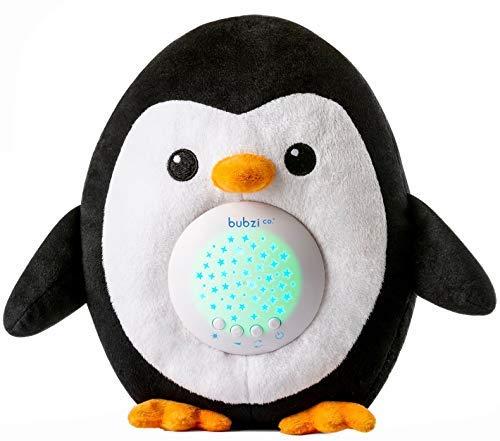eug Einschlafhilfe und Weißes Rauschen Lautsprecher - Pinguin-Kuscheltier - Nachtlicht mit Sternenhimmel Projektor - Babyspielzeug mit Schlafliedern - Bestes Babyparty Geschenk ()