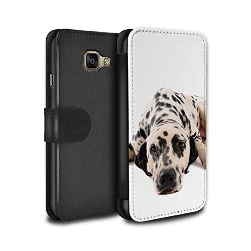 Stuff4 Coque pour Samsung Galaxy A5 (2016) Chiens Dalmatien Désign Retourner PU Faux Cuir Etui Housse Case