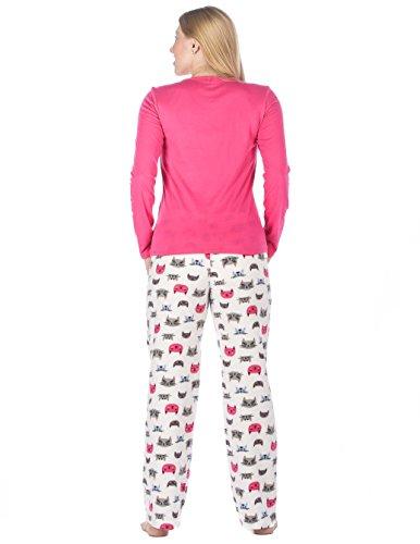 Homewear Ensemble Pyjama en Micro Polaire pour Jeune Femme - Motifs Mignons Chat - Rose