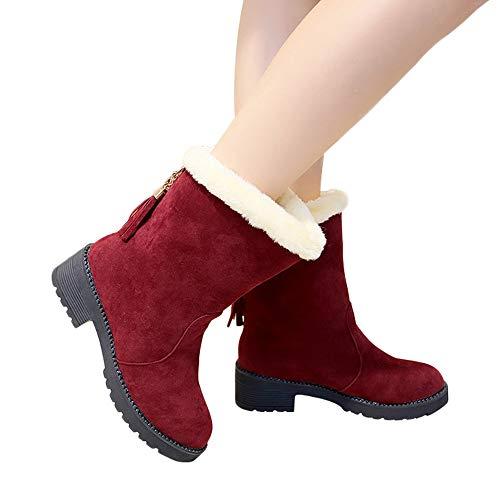 Preisvergleich Produktbild TianWlio Stiefel Frauen Winter Warm Schuhe Stiefeletten Boots Halten Schlüpfen Schneestiefel Weihnachten Frauen Schlüpfen Schuhe Schneestiefel Wildleder Quasten Stiefel Runde Kappe Halten Sie Schuhe