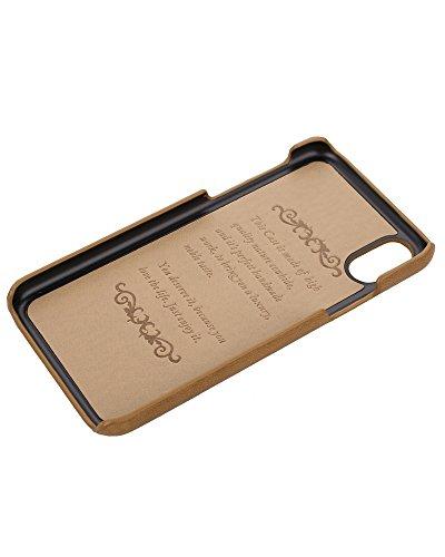 Hülle für iPhone X not PU - VENTER® ultra luxe en cuir souple Slim PU Housse Coque pour Apple iPhone X Palme