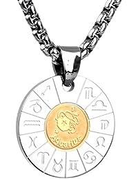 COPAUL Collana in acciaio inox Ciondolo zodiacale per uomini e donne b8f355d5cac