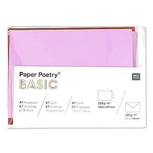 Set d'enveloppes et de cartes doubles unies format A7 Multicolore x36