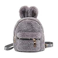 OneMoreT Faux Fur Mini Rabbit Ears Kids Backpacks Girls Children School Kindergarten Shoulder Mini Backpacks Rucksack