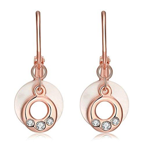 Gnzoe Gioielli 18K Oro Rosa Placcato Drop Orecchini Rotondo Opal Ram's Horn Cristallo Eco Amichevole