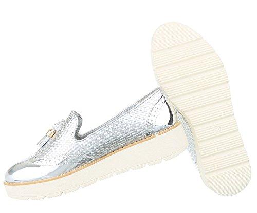 Damen Halbschuhe Schuhe Slipper Loafer Mokassins Flats Slip On Schwarz Pink Silber Weiß 36 37 38 39 40 41 Silber
