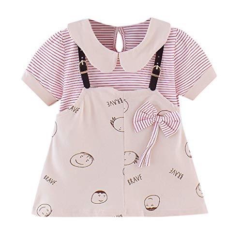 Baby Mädchen Cartoon Drucken Prinzessin Patchwork Bow Kleid Sommerkleid Streifen Kleider Geburtstag Partykleid Kinder Girl Süß Smiley Riemen Rock Sommer Casual T-Shirt Kleid