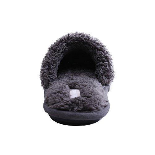 Donna Corallo Pile Comode Pantofole Calde Pantofole Casuale Cute Peluche Bout Aperte Pantofole Peep-toe Slip WILLIAM&KATE Grigio