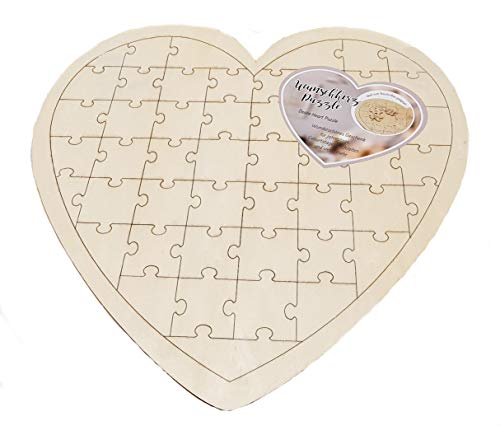 Spetebo DIY Herz Puzzle 49 Teile - Holz Hochzeit Gästebuch - Geburtstagskarte Geschenk Idee Hochzeits Gästebuch (Ideen Geschenke Hochzeit)