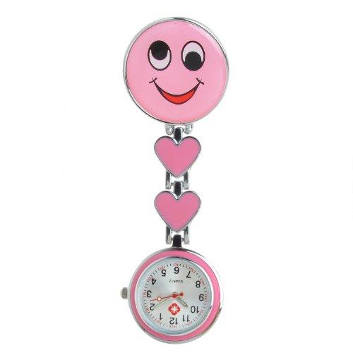 COLJOY Krankenschwester Uhr Pulsuhr Nurse Watch Kitteluhr Taschenuhr Trend Uhren Top Qualität Schwesternuhr Smiley mit Clip Krankenschwesteruhr Kitteluhr Neu! Rosa