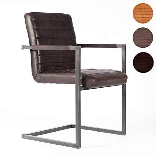NATUMO Freischwinger mit Armlehne Schwingstuhl Esszimmerstuhl Retro Konferenzstuhl Stühle...