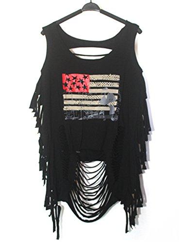 Shirt Hippie Sexy Kostüm - Damen Sexy Straße Punk Hippie T-Shirt Shirt Damenbluse Weste Tanktop Tops Ärmellos Tassel Einmalig (#1)