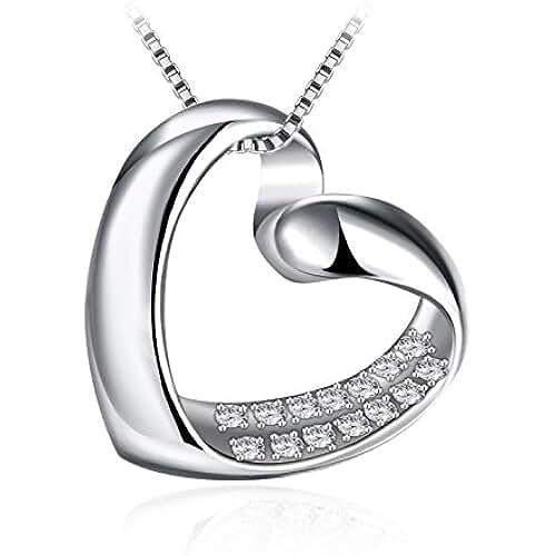 ofertas para el dia de la madre Collar Mujer, J.Rosée Plata de Ley 925 14 Circonita Collar Corazón Cadena 45cm-50cm Regalo para el Día de la Madre