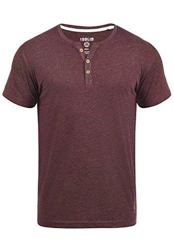 !Solid Volker Herren T-Shirt Kurzarm Shirt Mit Grandad-Ausschnitt, Größe:L, Farbe:Wine Red Melange (8985)